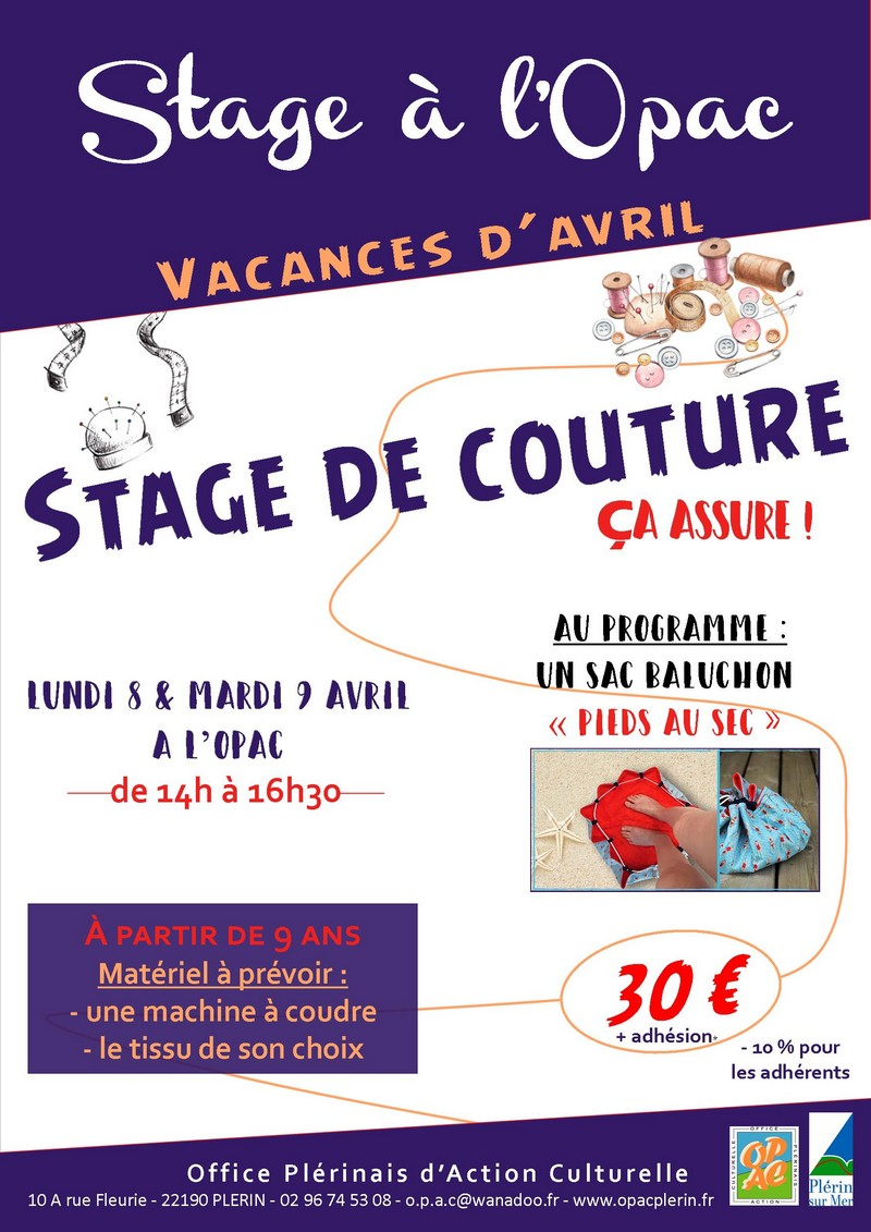 affiche stage couture - avril